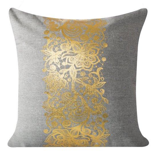 Poszewka na poduszkę szaro złota 40 x 40 cm  - 40x40 - szary