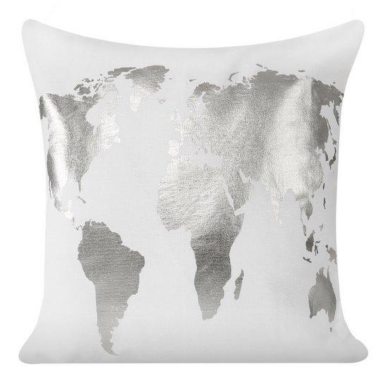 Biała poszewka na poduszkę srebrna mapa 40 x 40 cm  - 40x40