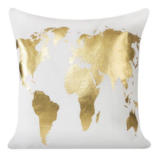 Biała poszewka na poduszkę złota mapa 40 x 40 cm  - 40 X 40 cm - biały/złoty