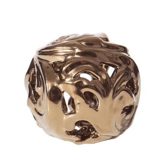 Kula ceramiczna ażurowa stare złoto 8 cm - ∅ 9 X 8 cm