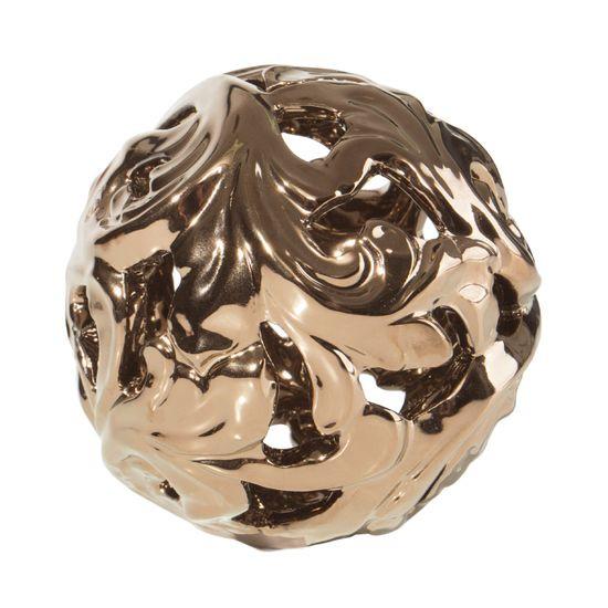 Kula ceramiczna ażurowa stare złoto 11 cm - ∅ 11 X 11 cm - brązowy