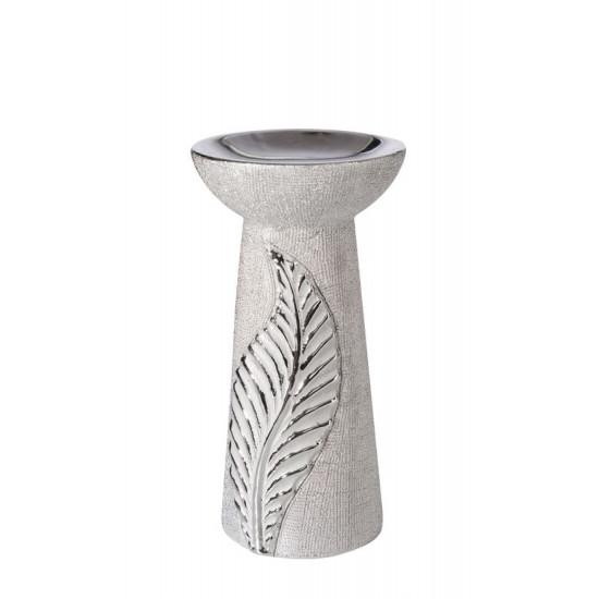 Świecznik ceramiczny z wytłaczanym liściem 20 cm - 11x11x20