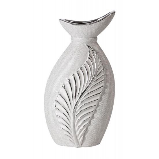 Wazon ceramiczny z wytłaczanym liściem 31 cm - 16 X 10 X 31 cm