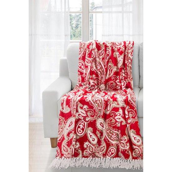Czerwony koc z pięknym wzorem 150x200 - 150x200