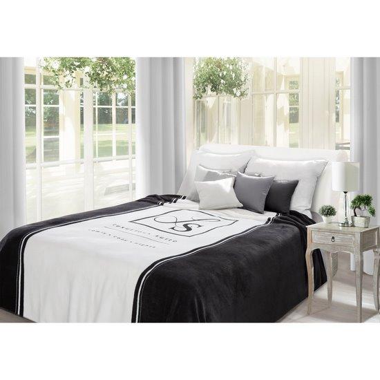 Duży koc z eleganckim czarno-biały nadrukiem 220x240 - 220x240