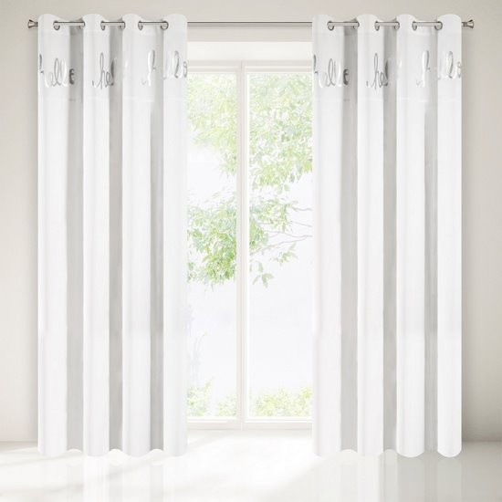 Zasłona biała ze srebrnymi napisami 140x250 cm przelotki - 140x250