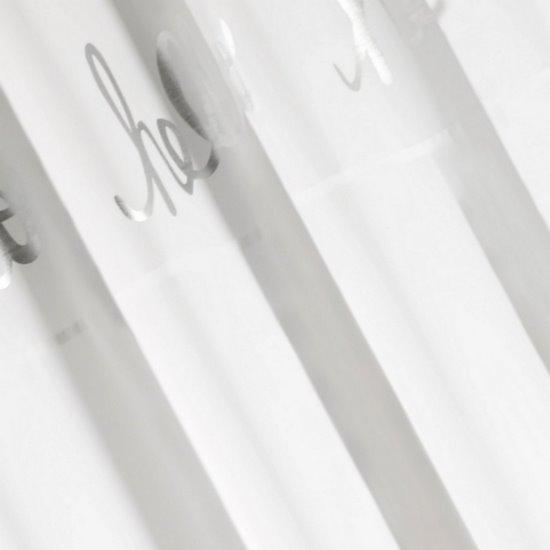 Zasłona biała ze srebrnymi napisami 140x250 cm przelotki - 140 X 250 cm