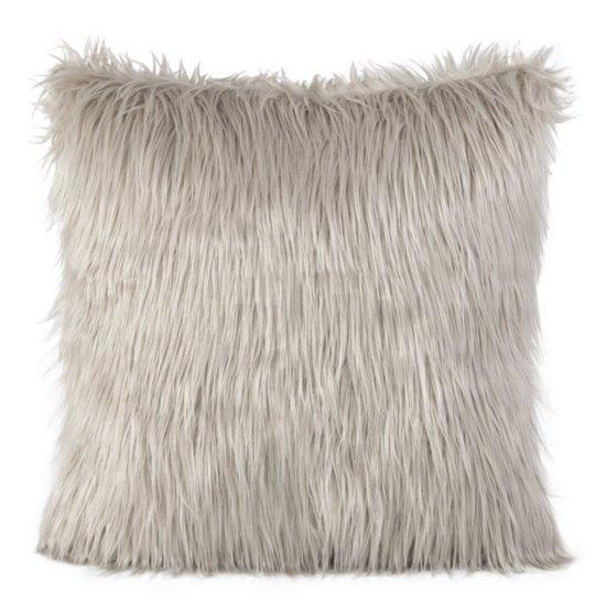 Poszewka na poduszkę miękkie futerko 45 x 45 cm beżowa  - 45x45