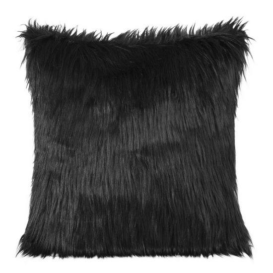 Poszewka na poduszkę miękkie futerko 45 x 45 cm czarna  - 45x45
