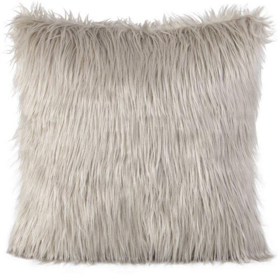 Poszewka na poduszkę futerko jasny brąz 55 x 55 cm - 55x55