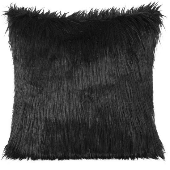 Poszewka na poduszkę futerko czarna 55 x 55 cm - 55x55 - czarny