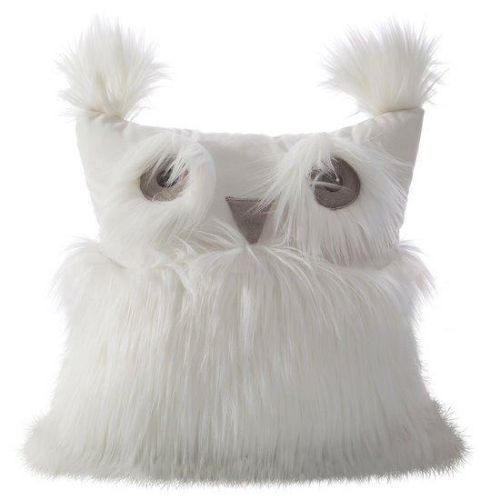 Poszewka na poduszkę 40 x 40 cm w kształcie sowy biała  - 40x40