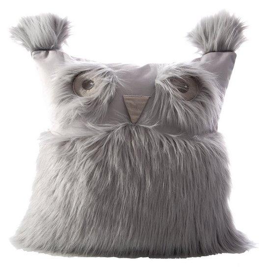 Poszewka na poduszkę 40 x 40 cm w kształcie sowy srebrna  - 40x40