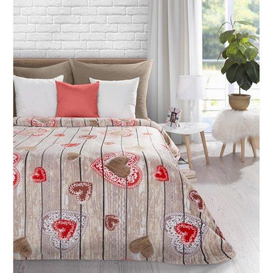 Ciepły, romantyczny koc aneta w serduszka 150x200cm - 150 X 200 cm - stalowy/czerwony