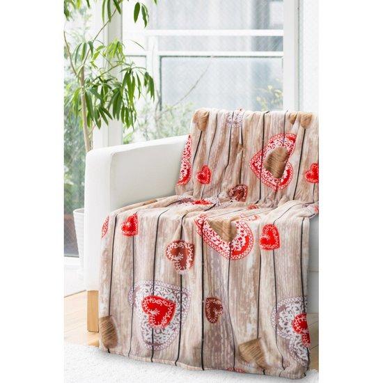 Ciepły, romantyczny koc ANETA w serduszka 150x200cm - 150x200