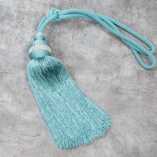 Chwosty, upinacze do zasłon kolor turkusowy 63 cm 1 szt - dł. 63 cm