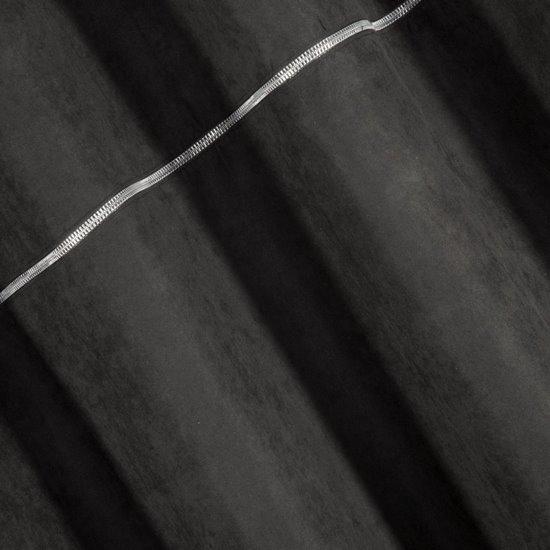 Zasłona CZARNA na przelotkach 140 x 250 cm zdobiona srebrnym zamkiem   - 140x250