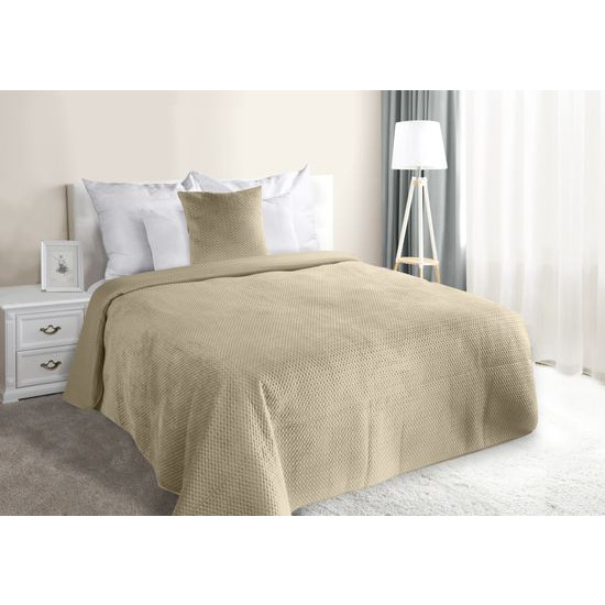 Narzuta na łóżko welwetowa pikowana hotpress 200x220 cm beżowa - 200 X 220 cm - jasnobeżowy