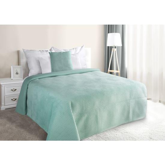 Narzuta na łóżko welwetowa pikowana hotpress 170x210 cm miętowa - 170 X 210 cm - miętowy