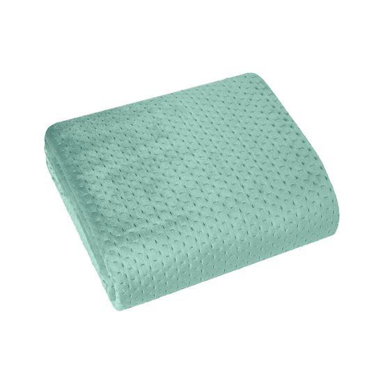 Narzuta na łóżko welwetowa pikowana hotpress 200x220 cm miętowa - 200x220