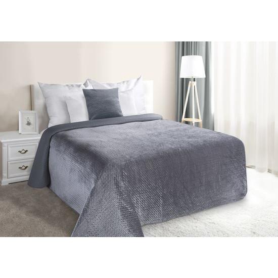 Narzuta na łóżko welwetowa pikowana hotpress 170x210 cm grafitowa - 170x210