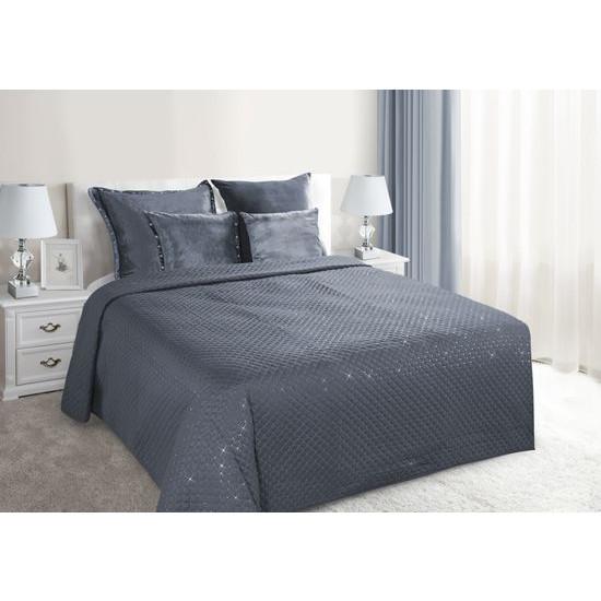 Narzuta na łóżko miękka zdobiona cekinami 220x240 cm stalowa - 220x240