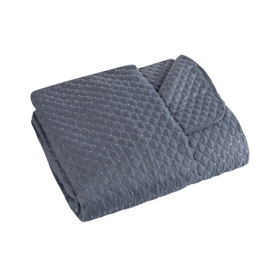 Narzuta na łóżko miękka zdobiona cekinami 220x240 cm stalowa - 220 X 240 cm