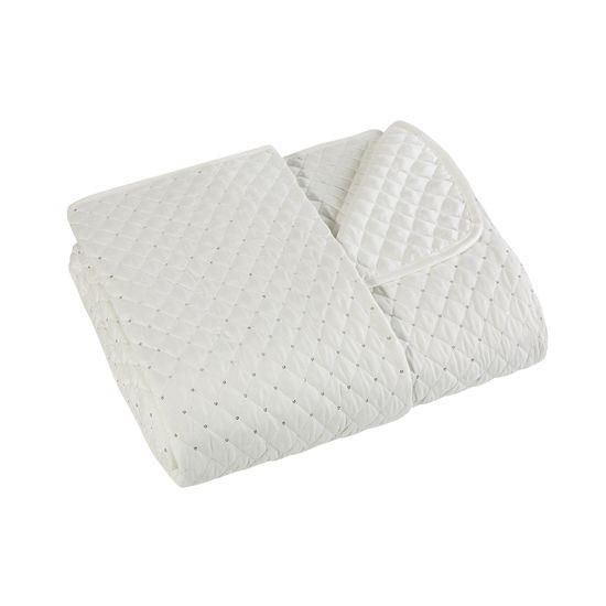 Narzuta na łóżko miękka zdobiona cekinami 170x210 cm kremowa - 170 X 210 cm - kremowy