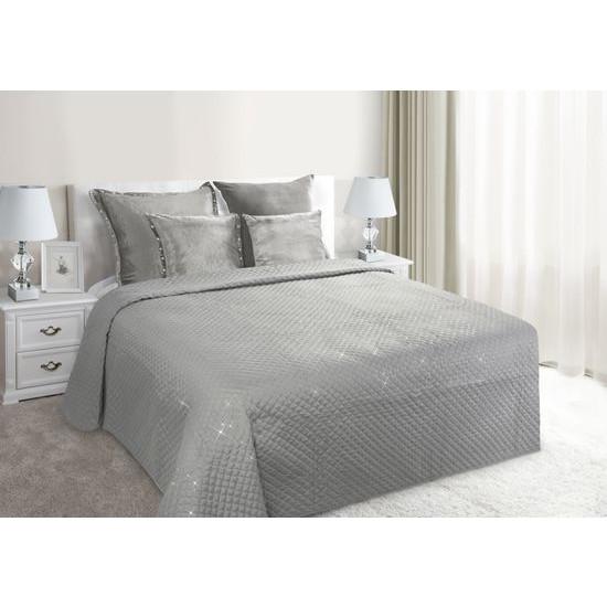 Narzuta na łóżko miękka zdobiona cekinami 170x210 cm srebrna - 170 X 210 cm - srebrny