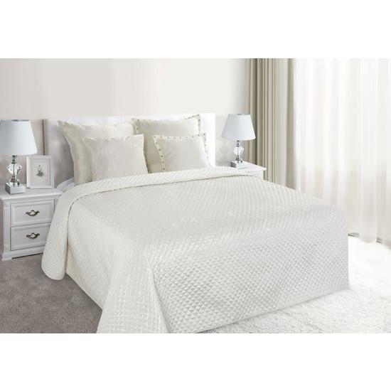 Narzuta na łóżko pikowana zdobiona cekinami 170x210 cm kremowa - 170 X 210 cm - kremowy