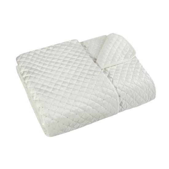 Narzuta na łóżko pikowana zdobiona cekinami 170x210 cm kremowa - 170x210