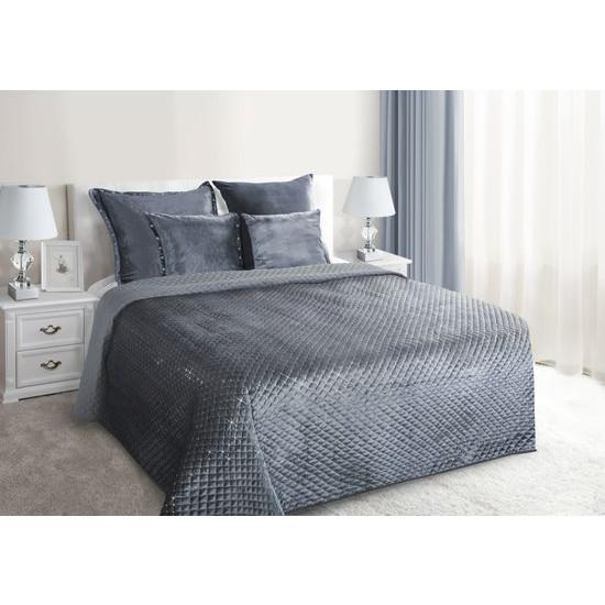 Narzuta na łóżko pikowana zdobiona cekinami 170x210 cm stalowa - 170 X 210 cm - stalowy