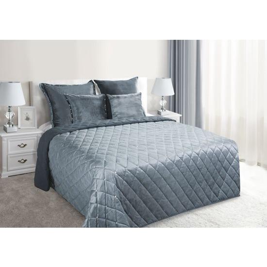 Narzuta na łóżko welwetowa kryształki 200x220 cm stalowa - 200 X 220 cm