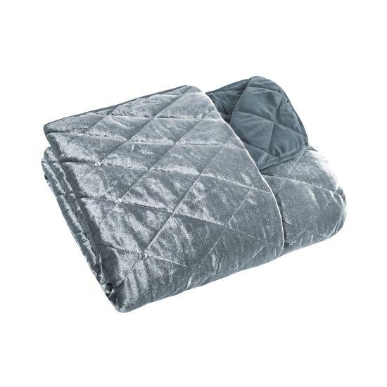 Narzuta na łóżko welwetowa kryształki 200x220 cm stalowa - 200x220