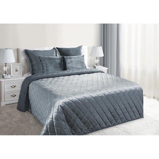 Narzuta na łóżko welwetowa pikowana 200x220 cm stalowa - 200 X 220 cm - stalowy