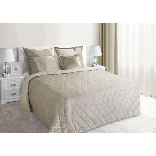 Narzuta na łóżko welwetowa pikowana 170x210 cm beżowa - 170 X 210 cm - beżowy