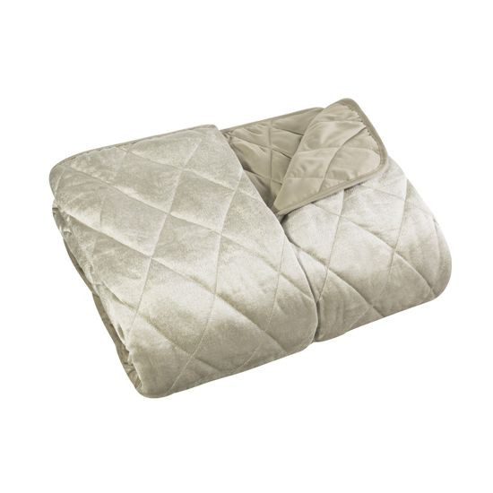 Narzuta na łóżko welwetowa pikowana 170x210 cm beżowa - 170 X 210 cm