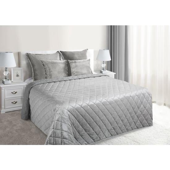 Narzuta na łóżko welwetowa pikowana 170x210 cm srebrna - 170x210