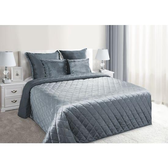Narzuta na łóżko welwetowa pikowana 170x210 cm stalowa - 170 X 210 cm