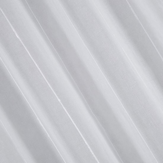 Zasłona gotowa biała z pionowymi prążkami 140x250 cm przelotki - 140 X 250 cm