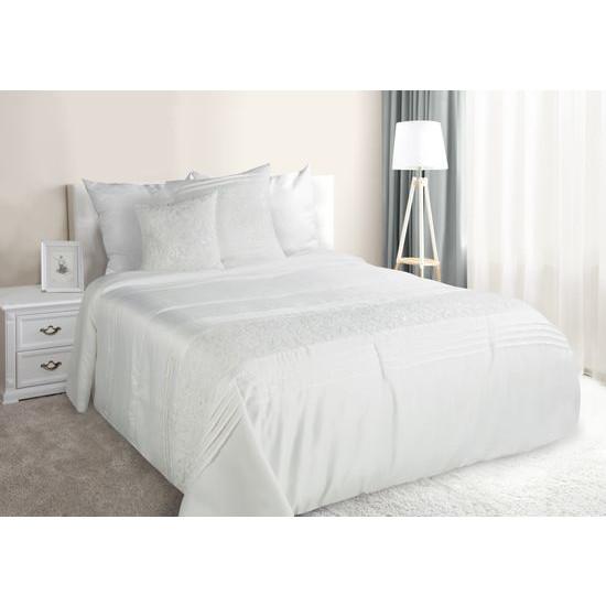 Narzuta na łóżko satynowa kwiatowy ornament 220x240 cm kremowa - 220 X 240 cm - kremowy