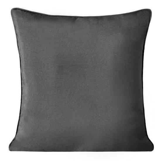 Poszewka na poduszkę gładka z lamówka 50 x 50 cm grafitowa - 50x50 - grafitowy