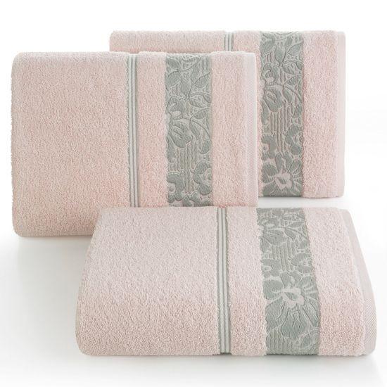 Ręcznik z bawełny z kwiatowym wzorem na bordiurze 50x90cm jasnoróżowy - 50 X 90 cm