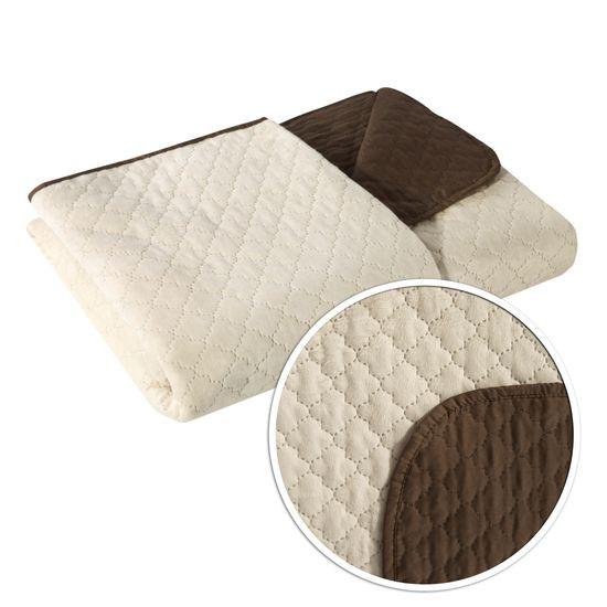 Narzuta na łóżko dwustronna marokańska koniczyna 220x240 cm kremowo-brązowa - 220x240 - kremowy / brązowy