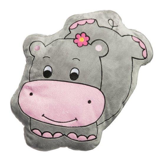Poduszka przytulanka hipopotam szaro-różowa 30 X 35 cm - 30x35