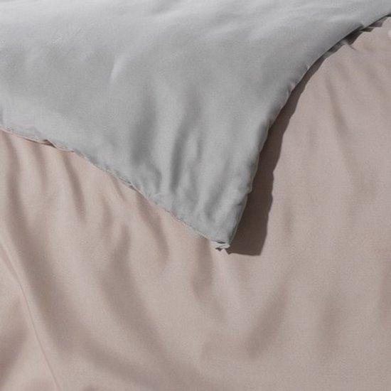 Komplet pościeli z MIKROFIBRY 160 x 200 cm, 2 szt. 70 x 80 cm, DWUSTRONNA, różowo srebrna - 160x200+70x80/2 - różowy / srebrny