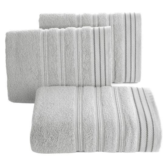 Ręcznik z bawełny z częścią ozdobną przetykaną błyszczącą nicią 70x140cm - 70x140 - szary