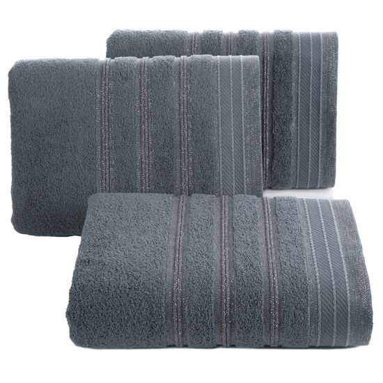 Ręcznik z bawełny z częścią ozdobną przetykaną błyszczącą nicią 50x90cm - 50 X 90 cm - stalowy