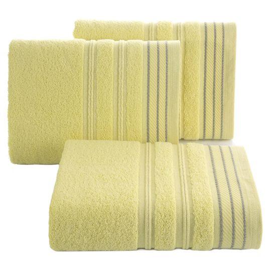 Ręcznik z bawełny z częścią ozdobną przetykaną błyszczącą nicią 70x140cm - 70x140 - żółty
