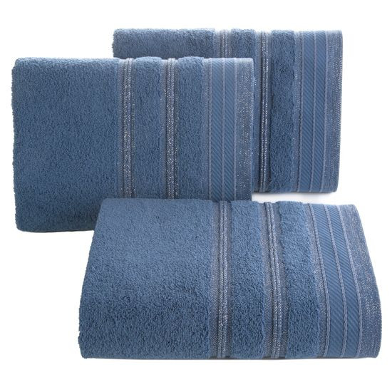 Ręcznik z bawełny z częścią ozdobną przetykaną błyszczącą nicią 70x140cm - 70x140 - granatowy